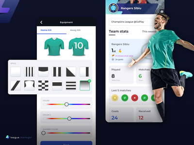 4league.manager  - Football Team Stats Manager & Kit Builder real football app fantasy football team manager app sports design sport app mobile app league app team stats kit builder jersey builder football league football kit soccer app soccer football app app design