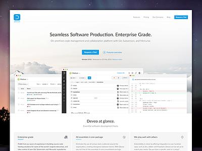 Brand New Deveo Website  cloud enterprise software landing page deveo website