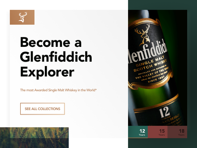 Glenfiddich Concept Landing Page - #weeklycreatives weekly designs weeklycreatives website presentation landing page daily ui stylish glamor whiskey