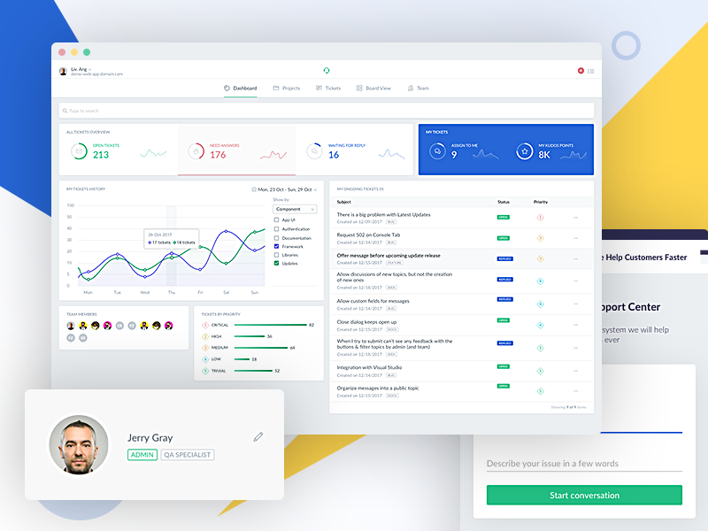 Dashboard for AI Help Desk Support Tickets App