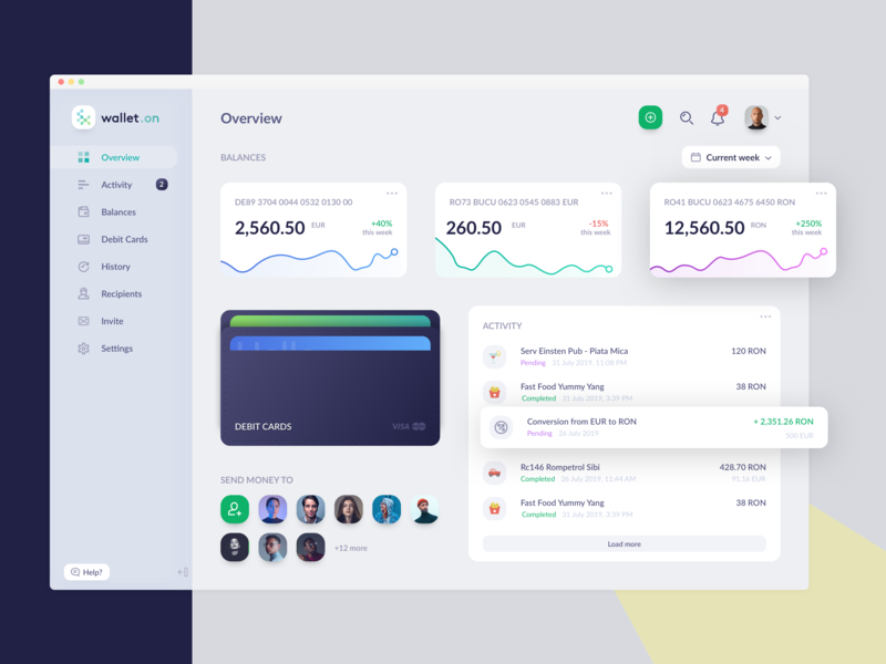Finance App - wallet.on (TransferWise concept) online banking banking app card wallet debit card holder card holder financial dashboard weekly designs daily ui weeklycreatives finance business clean ui chart dashboard dashboard dashboard ui money management money transfer wallet app money app finance app