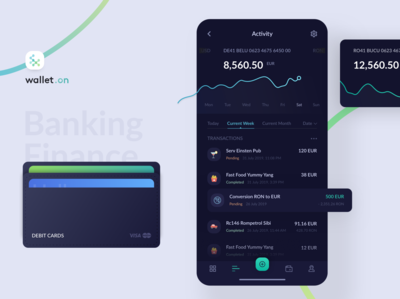 Mobile Banking Finance Dark UI App - wallet.on