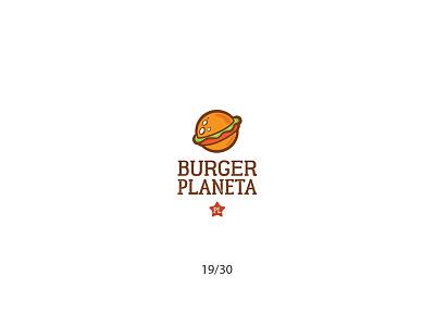Burger Planeta cartoon hamburger planet burger fastfood creative minimal simple logodesign logo futureform