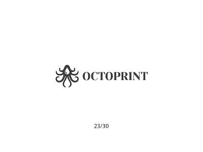 Octoprint inkdrop octopus negativespace print creative minimal simple logodesign logo futureform