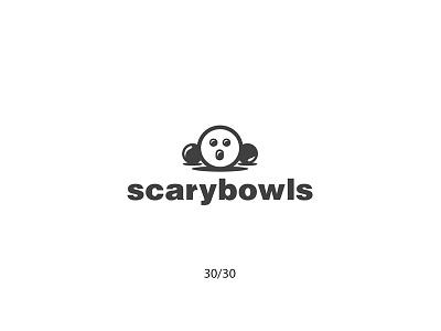 Scarybowls scary scarybowls bowling cartoon creative minimal simple logodesign logo futureform