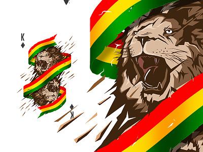 Reggae Lion King playingcards king tshirtdesign illustration spaceballs creative tshirt vector reggae lion futureform