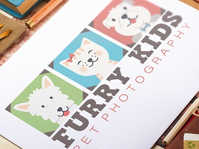 Logo Design for Furry Kids Pet Photography pet business pet industry playful detailed illustrative colorful pets dogs pet photographer