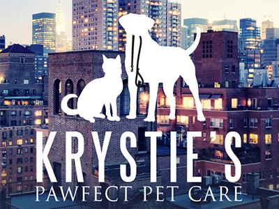 Pet Sitting Logo Design For Krsties Pawfect Pet Care new york dog cat silhouette pets pet business pet sitter