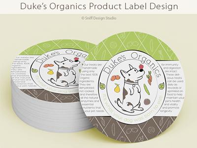 Label Design For Duke's Organics Dog Treats, UK business pet packaging food dog illustrative organic pet industry pets