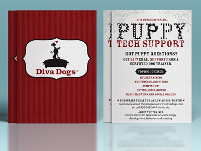 Flyer Design For Diva Dogs Puppy Tech Support Service pet industry pet business poodle french retro diva pets dog puppy
