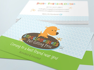 Pet Business Card Design For Snugglemeisters Pet Sitting Pros pup playful cute whimsy 1906s retro animal cat pets dog canine pet business