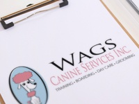 Pet grooming and training logo design for wags by sniff design