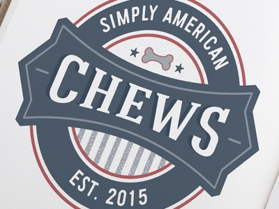 Pet Business Logo Design For Simply American Chews pet brand usa american vintage badge retro bone pet food dog chew canine pets dogs