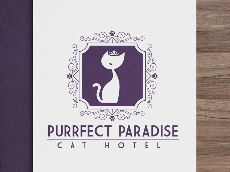 Feline Logo Design for Purrfect Paradise Cat Hotel modern crest elegant pet business 1 color design kitty pet logo cat