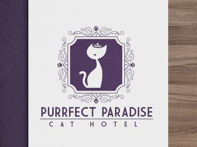 Feline Logo Design for Purrfect Paradise Cat Hotel