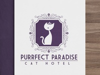 Feline Logo Design for Purrfect Paradise Cat Hotel