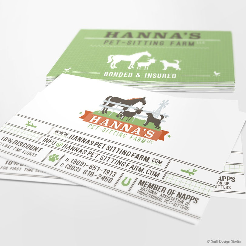 dribbble hanna s pet sitting farm business card design by