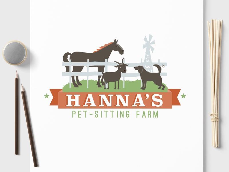 Pet Business Logo Design for Hanna's Pet Sitting Farm colorful detailed pet business brand branding horse goat dog pet animal farm