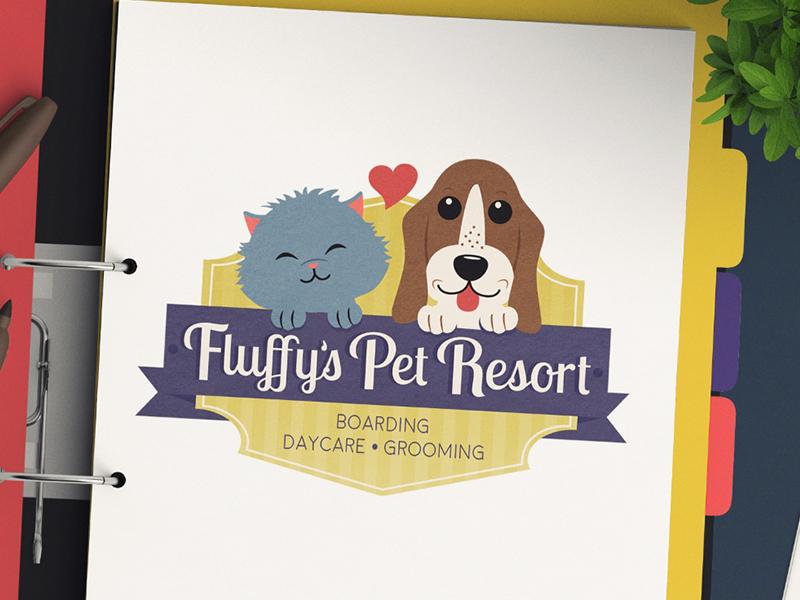 Pet Daycare Business Logo Design For Fluffy's Pet Resort pet design pet industry pup pet branding whimsical detailed cute cat dog