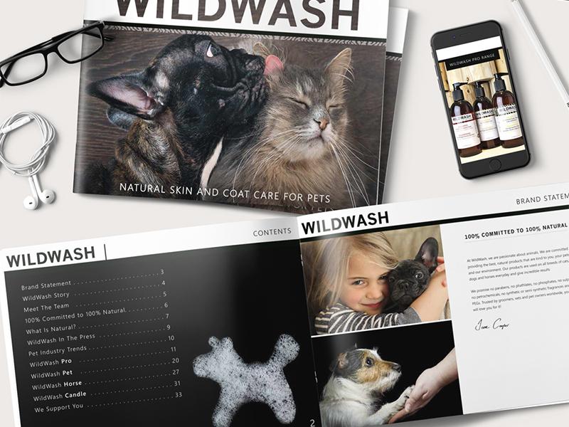 Print & Digital Marketing Document for WildWash Co. - UK pet logo design pet business canine pet boutique dog branding pet design