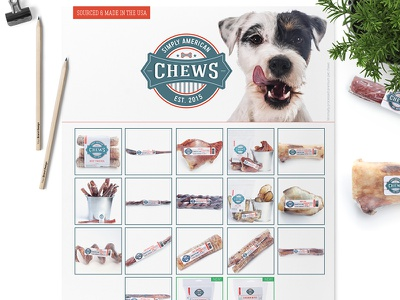 Sell Sheet & Product Label Design For Simply American Chews label design pet industry pet logo pet treats canine pets dog marketing design