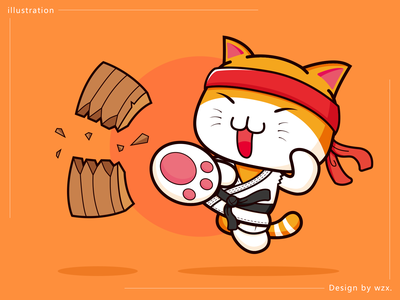 Karate illustration karate play design cute cat illustration