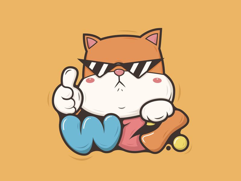 Cat illustration orange cute design cat illustration