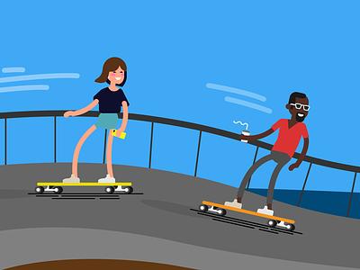 Characters skateboarding vectors characters illustration