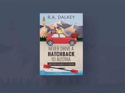 Never Drive a Hatchback to Austria typography editorial vector illustration