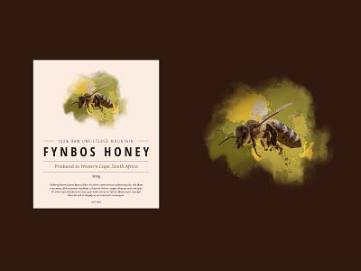 Fynbos honey typogaphy packaging label