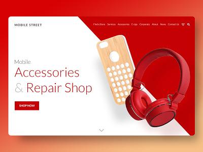 Sneak Peak mobile accessories mobile repair card mobile web design ecommerce sneak peak teaser ui ux website