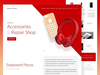 Mobile Street website web design ux ui mobile repair accessories mobile layout interface ecommerce card