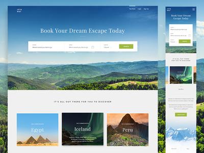 Jetaway Home Page Design mobile design mobile responsive design responsive layout interface travel agency travel ux ui web design website