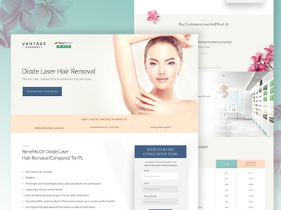 Vantage Landing Page 🌿 landing page design design desktop hair removal health care pharmacy interface ux ui website design website landing page