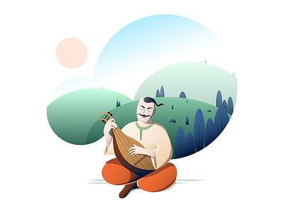 Kozak illustrator man ukraine ua music nature vector illustration kozak