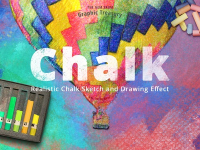 Realistic Chalk Drawing Effect — PS action download action photoshop bright colorful illustration sketch shading realistic pastel natural chalk