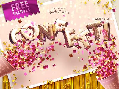 Confetti Party — Graphic Kit celebration background template promo shiny bright gold wedding confetti gold confetti fun font photoshop free download