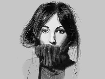 Phoebe Philo portrait illustration procreateapp fashion
