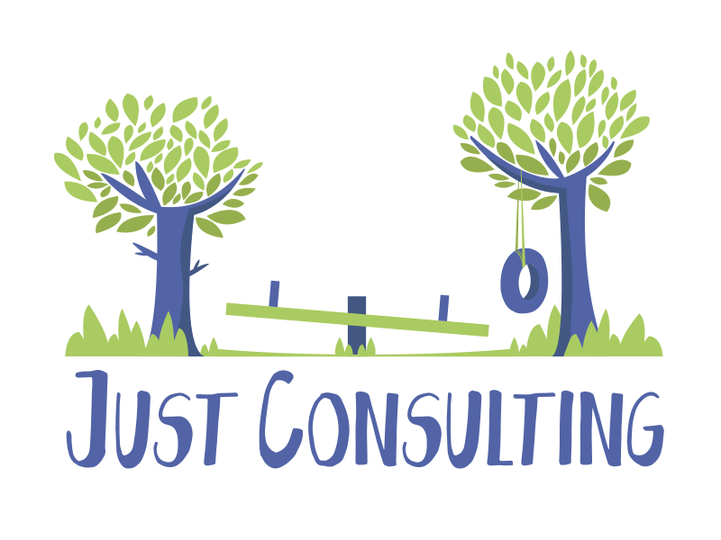 Just Consulting playful design trees logo