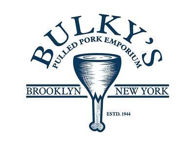Bulky's Pulled Pork Vintage Engraved Logo inktober2020 inktober vintage retro butcher logo meat logo engraved logo vintage logo retro logo