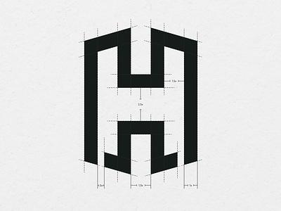 H logo With Grid character logo h logo letter logo gridded logo logo grids logodesign logos logo grid
