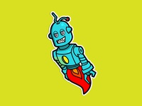 Flying Robot Sticker