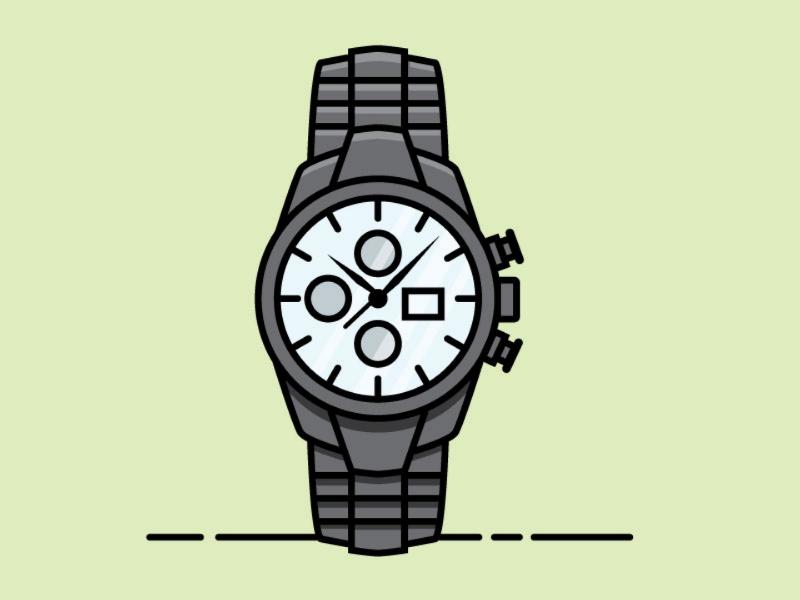 Black Chrome Watch speed art flat vector watch vector