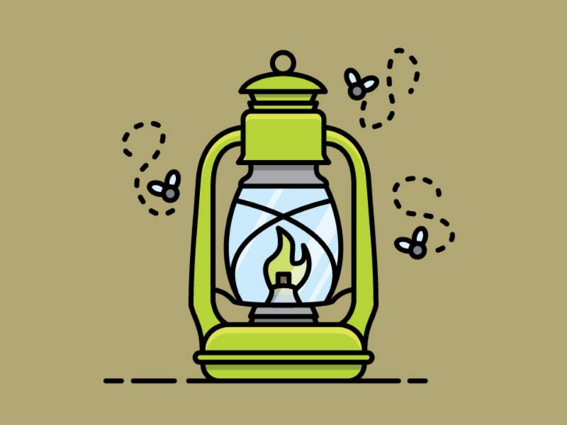 Retro Kerosene Lantern flat design vector flies light lantern camping