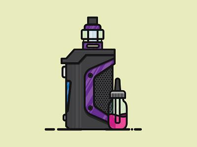 Vape Mod & e-juice illustration vector illustrator flat design flat vector vectorart ejuice vape mod vaping vape