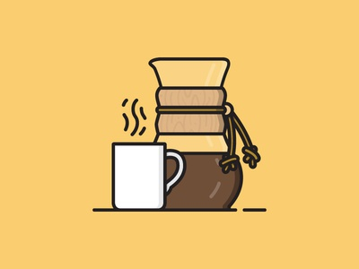 Chemex Coffee Pour Over illustration vector art flat design vector flat vector bamboo pour over chemex coffee cup coffeeshop home brewing home brew coffee