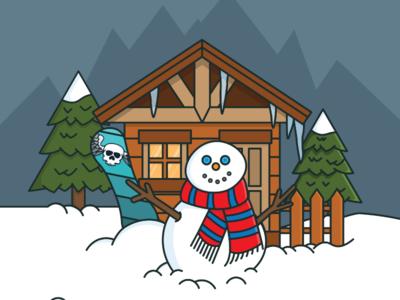 Snowboard or snowman? vector scene vector art vector scene mountains trees ski lodge snowboard winter snowman