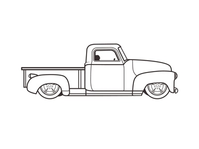 50's Chevy Truck - Finished Outline adobe illustrator vectorart illustration illustrator vector art vector work in progress wip retro antique vintage classic trucks outline truck