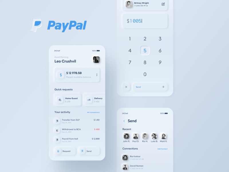 Paypal Redesign Concept neomorphism ux white clean mobile app ui app mobile payment paypal concept