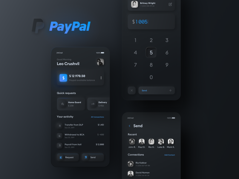 Paypal Redesign Concept Dark ux ui paypal payment app neomorphism dark concept mobile ui mobile